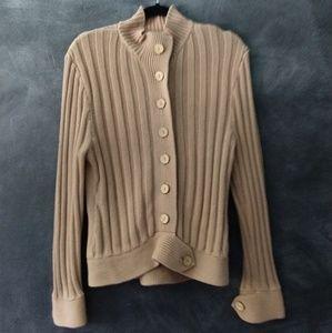 KENJI NATURAL | Tan Wooden Button Cardigan Size XL